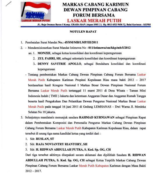 Notulen Rapat FB-Laskar Merah Puith Marcab Karimun